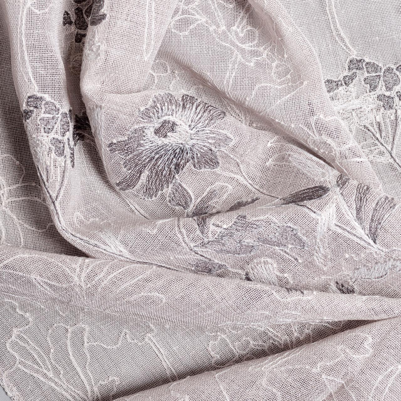 Тюль плотный с вышивкой цветы
