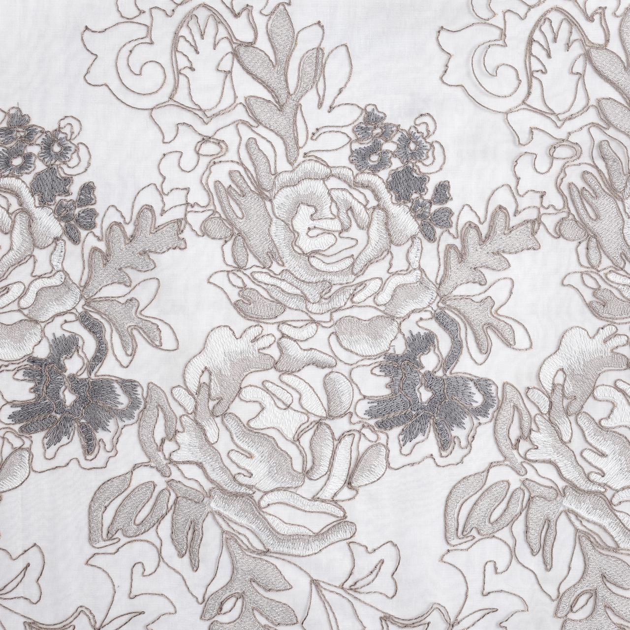 Тюль с вышивкой в густые цветы